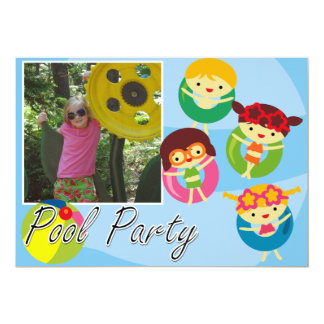 Customized Photo Pool Party Swimming Birthday Card