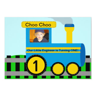 Customized Photo Train Birthday Invitation