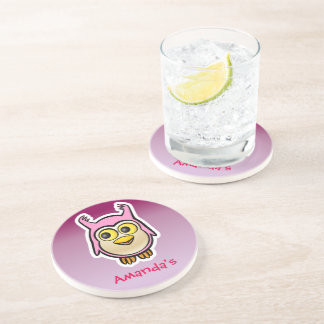 Customized Pink Baby Owl Cartoon Coaster