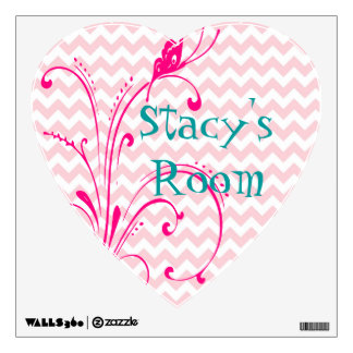 Customized Pink Chevron Floral Vines Wall Decal