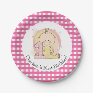 Customized Pink Gingham 1st Happy Birthday 7 Inch Paper Plate