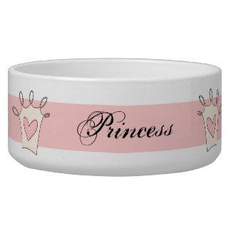 Customized Pink Princess Dog Bowl