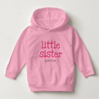Customized Pink Text Little Sister Pullover Hoodie