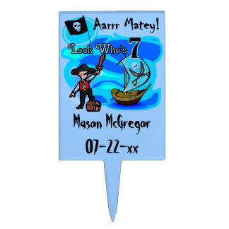 Customized Pirate 7th Birthday Cake Topper