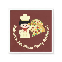 Customized Pizza Party Birthday Paper Napkins