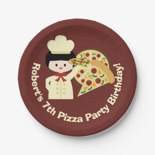 Customized Pizza Party Happy Birthday Paper Plates  sc 1 st  Zazzle & Pizza Plates | Zazzle