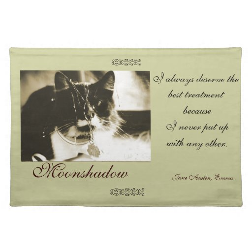 Customized Placemat for Cat - Jane Austen Quote