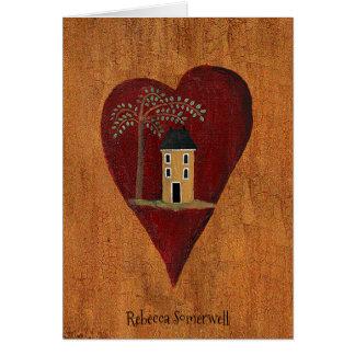 Customized Primitive Heart Card