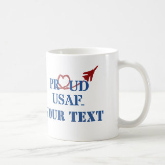 Customized Proud USAF - Jet with Heart Vapor Coffee Mug