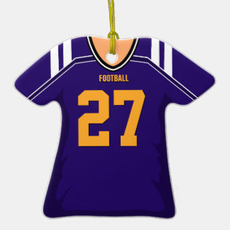 Customized Purple/Gold Football Jersey 27 V1 Double-Sided T-Shirt Ceramic Christmas Ornament