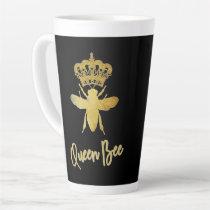 Customized ★ QUEEN BEE ★ Gold Crown   Black Latte Latte Mug
