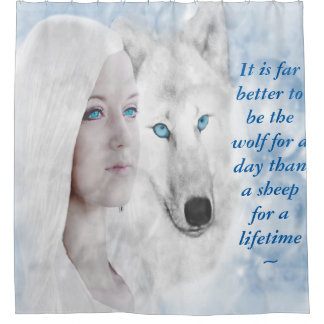 Customized Quote Snow White Wolf Lady Blue Eyes Shower Curtain