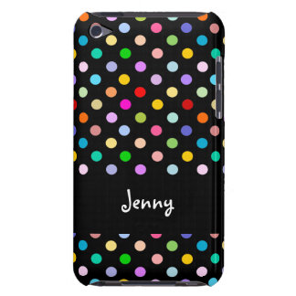 Customized Rainbow & Black Polka Dot pattern iPod Case-Mate Cases