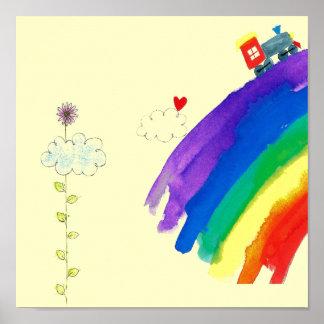 customized rainbow train print