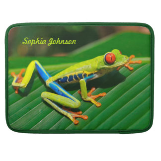 Customized rainforest green red-eyed tree Frog Sleeve For MacBooks