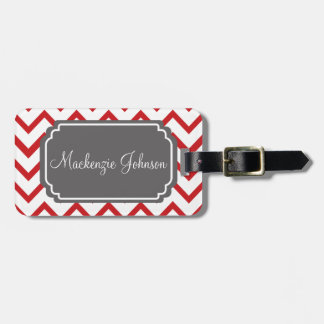 Customized Red Chevron Luggage Tag