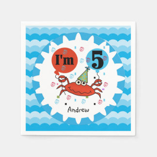 Customized Red Crab 5th Birthday Paper Napkins
