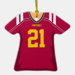 Customized Red/Gold Football Jersey 21 V1 Christmas Ornament