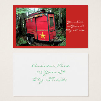 Customized Red Gypsy tiny caravan Business Card