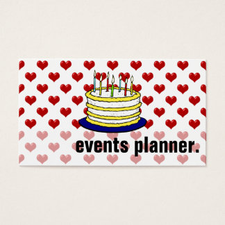 Customized Red Hearts Birthday Cake Events Planner Business Card