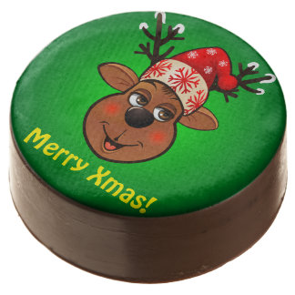 Customized Reindeer Cartoon With Santa Hat Chocolate Dipped Oreo