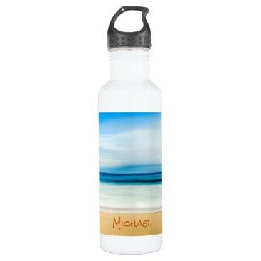 Beach Themed Customized Relaxing Sandy Beach Blue Sky Horizon Stainless Steel Water Bottle