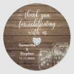 """Customized Rustic Mason Jars Wood Hearts Wedding Classic Round Sticker<br><div class=""""desc"""">Lovely rustic wood with mason jars wedding stickers/labels for your gifts. Script calligraphy letters. Faux heart diamond to add a little touch of class / bling! Personalize as you wish.</div>"""