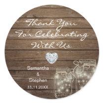 Customized Rustic Mason Jars Wood Hearts Wedding Classic Round Sticker
