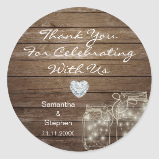 Customized Rustic Mason Jars Wood Hearts Wedding Classic Round Sticker