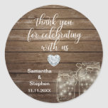 "Customized Rustic Mason Jars Wood Hearts Wedding Classic Round Sticker<br><div class=""desc"">Lovely rustic wood with mason jars wedding stickers/labels for your gifts. Script calligraphy letters. Faux heart diamond to add a little touch of class / bling! Personalize as you wish.</div>"