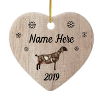 Customized Rustic Moon Spotted Nubian Goat Ceramic Ornament