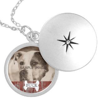 Customized Rustic Pet Photo Memorial Keepsake Round Locket Necklace
