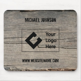 Customized Rustic Wood Texture Business with Logo Mouse Pad