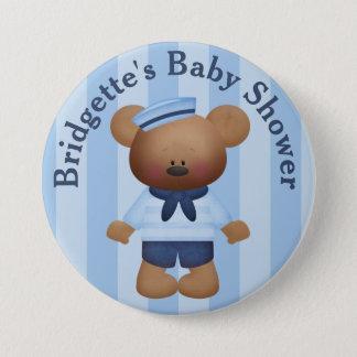 Customized Sailor Bear Baby Shower Button