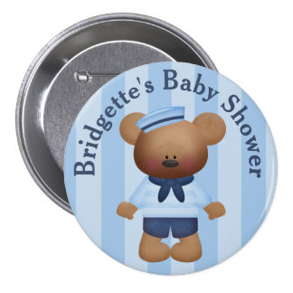 Customized Sailor Bear Baby Shower Button