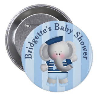 Customized Sailor Elephant Baby Shower Button