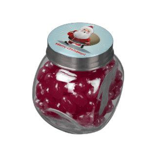 Customized Santa Claus Cartoon Glass Candy Jar