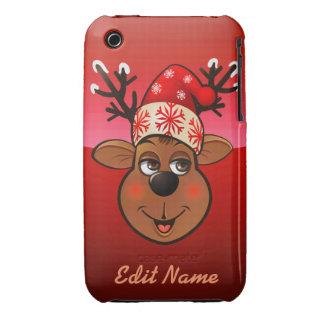 Customized Santa's Reindeer Cartoon Case-Mate iPhone 3 Cases