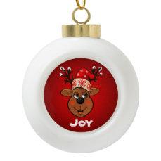 Customized Santa's Reindeer Cartoon Ceramic Ball Christmas Ornament