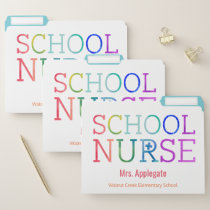 Customized School Nurse Rainbow Watercolor File Folder