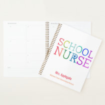 Customized School Nurse Rainbow Watercolor Planner