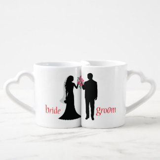 Customized Silhouette Bride and Groom Lovers Mugs Couples' Coffee Mug Set