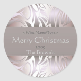 Customized Silver Wine Label for Christmas Classic Round Sticker