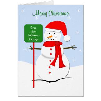 Customized Snowman Christmas Greeting Card