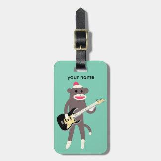 Customized Sock Monkey Rocks w/ Electric Guitar Bag Tag