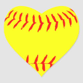 Customized Softball Heart Sticker