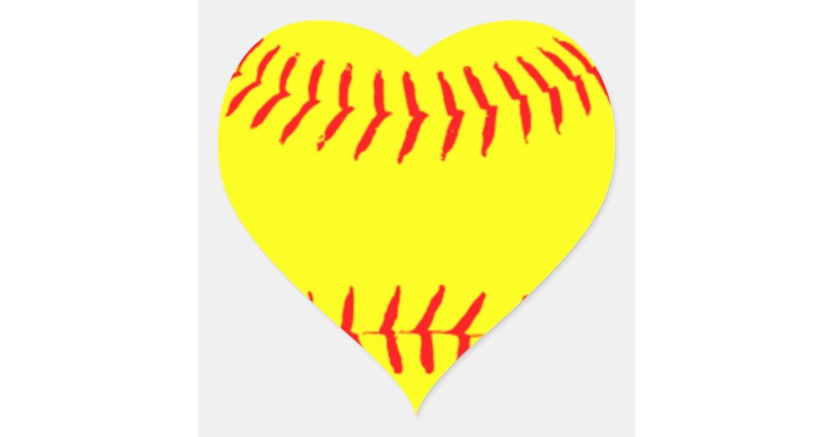 Customized Softball Heart Sticker   Zazzle