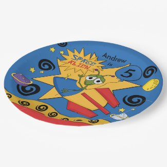 Customized Space Alien Birthday Paper Plate