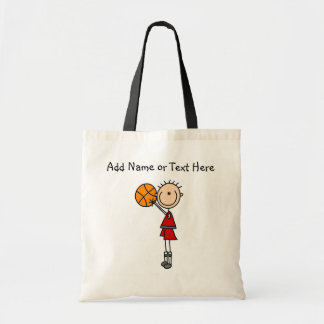 Customized  Stick Figure Basketball Tote Bag