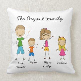 Customized Stick Figure Family MOJO Pillow throwpillow